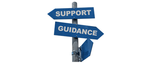A signpost pointing to support and guidance.